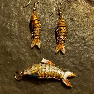 Halloween Enamel Articulated Fish Earrings Pendant